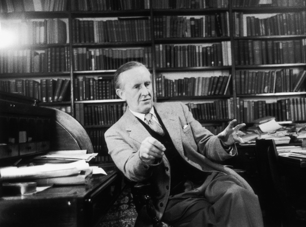 John Ronald Reuel Tolkien ( 1892 - 1973) the South African-born philologist and author of 'The Hobbit' and 'The Lord Of The Rings'. Original Publication: Picture Post - 8464 - Professor J R R Tolkien - unpub. Original Publication: People Disc - HM0232 (Photo by Haywood Magee/Getty Images)