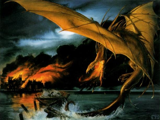 797px-john_howe_-_smaug_destroys_lake-town
